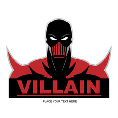 Great Red Villain in flat color, isolated on white.