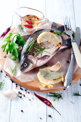 Delicious fresh fish on white background.