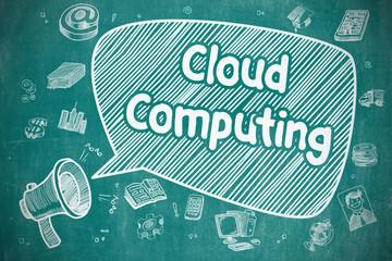 Cloud Computing - Doodle Illustration on Blue Chalkboard.