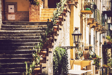 Detail view of Taormina, Sicily, Italy