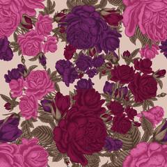 Розы. Цветы. Бесшовный фон. Векторная иллюстрация. Винтаж. Ботаника. Классика. Обои. Текстиль.