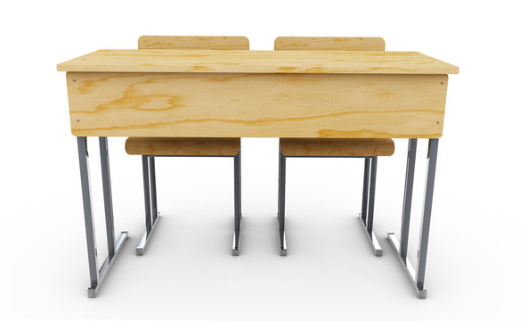 School desk and chairs front isolated on white background. 3d re