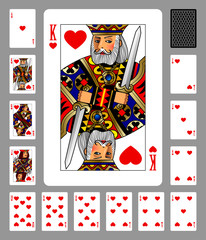 Playing cards of Hearts suit and back on green background