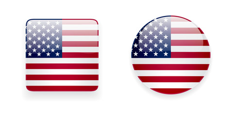 American flag vector icon set. Glossy square icon and round icon with flag of the USA on white background.