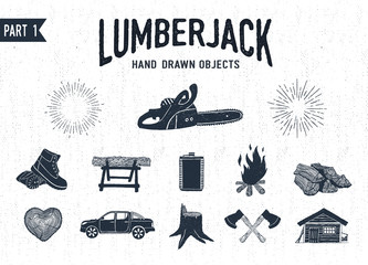 Hand drawn lumberjack textured icons set 1. Vector illustrations.
