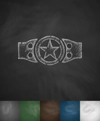 championship belt icon. Hand drawn vector illustration
