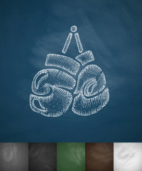 boxing gloves icon. Hand drawn vector illustration
