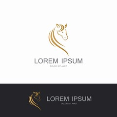 horse abstract gold logo