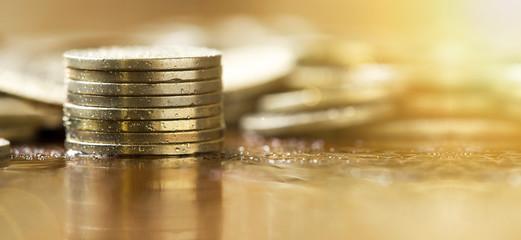 Save money - web banner of golden coins