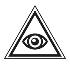 Masonic Symbol. All Seeing Eye Inside Pyramid Triangle Icon. Vector