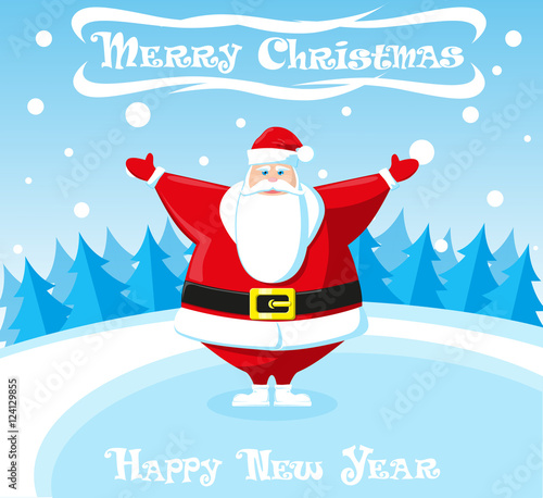 Merry christmas and happy new year landscape cute santa for Happy christmas vs merry christmas