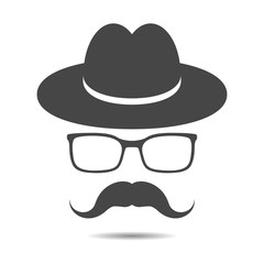black hat with mustache and glasses isolated on a grey backgroun