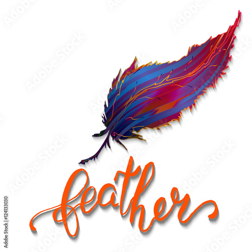 Calligraphic lettering with hand painted colorful feather on