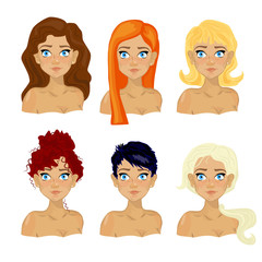 Women with different hairstyles. Vector illustration.