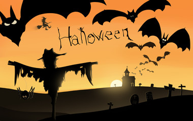 Halloween Background with many flying bats, witch, old church, moon, scarecrow, with owl, spooky eyes in cemetery and creepy text