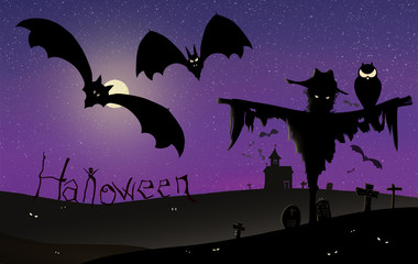 Halloween Background with many flying bats, old church, moon, scarecrow, with owl, spooky eyes in cemetery and text
