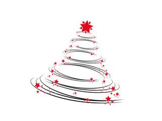 weihnachtsbaum mit roten sternen