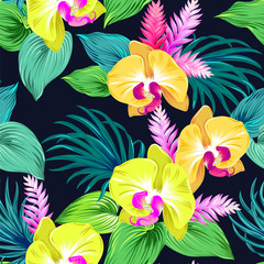 pattern with vector orchids.