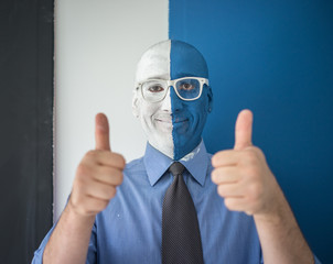 Blue and white face portait photo of a man