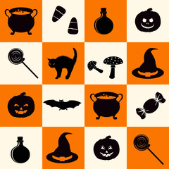 Seamless pattern with black halloween holiday related objects silhouettes on checkerboard background.