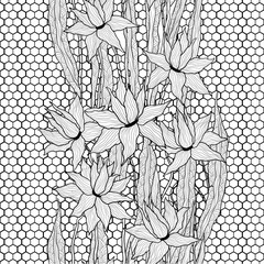 Seamless vector floral pattern. Royal lilies flowers with stylized doodle leaves on lattice lace. Black and white graphics. Monochrome.