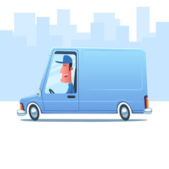 Cartoon smiling man driving a service van against the background of city.