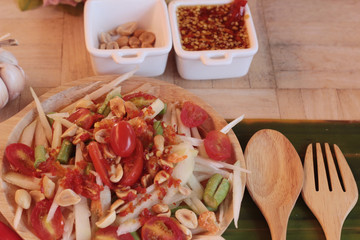 Spicy papaya salad is delicious ,thai food.