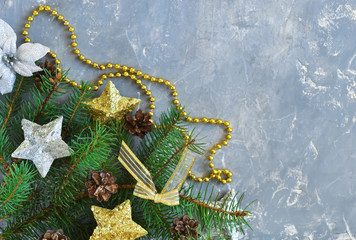 Christmas decoration on the concrete, gray background