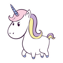 cute unicorn drawn icon vector illustration design