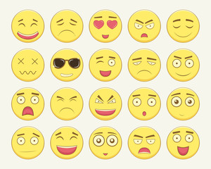 Emoticon set. Emoticon for web site, chat, sms. Modern flat design. Vector