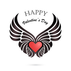Valentine day heart with angel wings on background.Happy Valenti