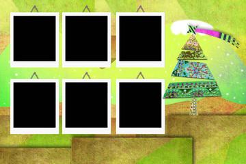 Christmas six empty photo frames card