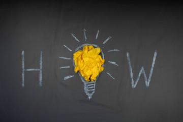 Obraz Glühbirne aus Kreide mit leuchtender Papierkugel - WIE - fototapety do salonu