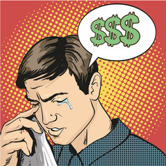 Man in stress and crying. Vector illustration in comic retro pop art style. Business failure concept