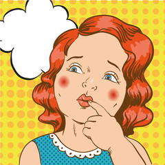 Little girl thinking about something. Vector illustration in comic retro pop art style