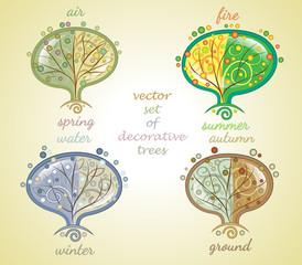 vector set of decorative trees all seasons