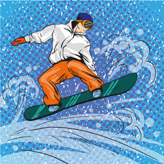 Man snowboarding in mountains. Vector illustration in pop art retro style. Winter sports vacation concept. Sportsman jump with snowboard