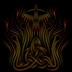 fire, celtic ornament with snakes and birds, vector