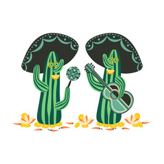Mexican style. Cartoon funny Cactus Mariachi traditional singers sombrero guitar maracas. Symbol of Mexico. Design idea for Fiesta Holiday. Humorous party banner background. Vector Illustration