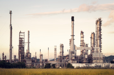 Oil Refinery factory in the morning , petrochemical plant , Petroleum...