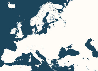 high detailed vector silhouette of Europe map
