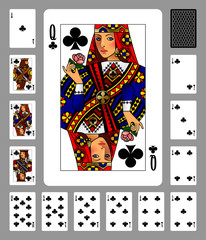 Playing cards of Clubs suit and back on gray background