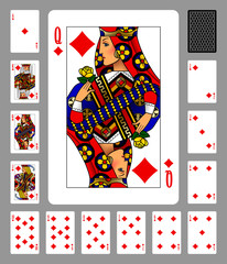 Playing cards of Diamonds suit and back on gray background