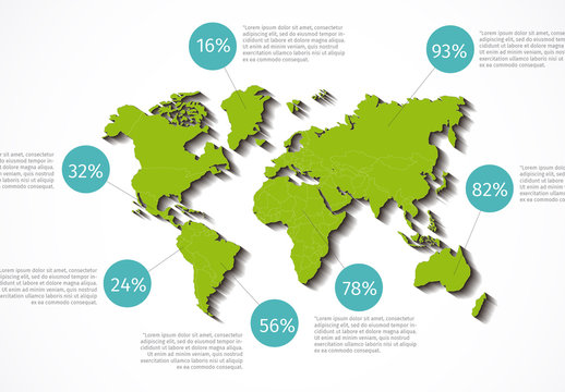 World Map with Location Points and Drop Shadow Infographic