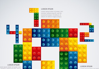 Colorful Building Blocks Element Infographic Set 3