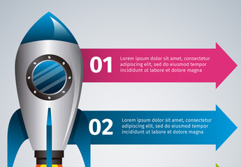 Rocket Ship with Arrow Tab Element Infographic