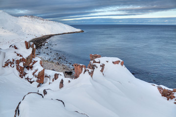 Russian polar region, Kola Peninsula, overlooking the Barents sea the Arctic ocean, Murmansk oblast