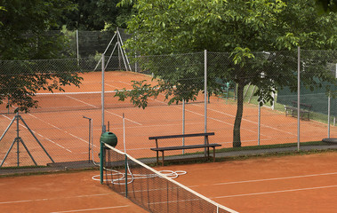 Small sand tennis court.