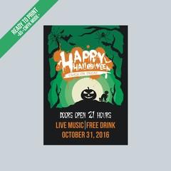 happy halloween  green flyer poster vector template