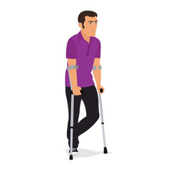 man on crutches isolated on white background.